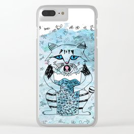Emotional Cat. Graphic Blue. Clear iPhone Case