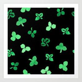 Clover Leaves Pattern on Black Art Print