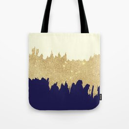 Navy blue ivory faux gold glitter brushstrokes Tote Bag