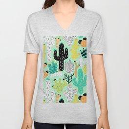 Cactus Crazy in Mint - Large Scale Unisex V-Neck