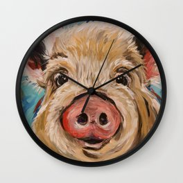 Pig Painting, Colorful Pig Wall Clock