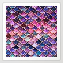 Pink & Purple Trendy Glitter Mermaid Scales Art Print
