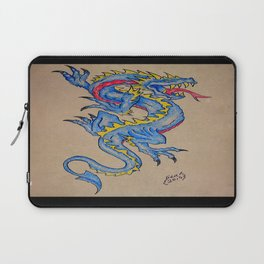 blue dragon parchment card (horizontal) Laptop Sleeve