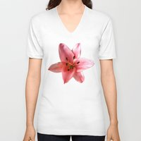 lily V-neck T-shirts featuring lily by flora cyclam
