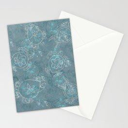 Hawaiian Teal Tribal Turtle Collage Stationery Cards