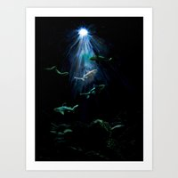 sharks Art Prints featuring Sharks by Naomi Bardoff