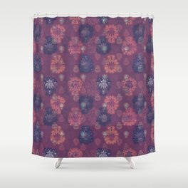 Lotus flower - mulberry woodblock print style pattern Shower Curtain