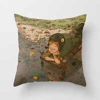 bouletcorp Throw Pillows featuring La rivière aux tortues by Bouletcorp