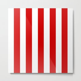 Rosso corsa red - solid color - white vertical lines pattern Metal Print