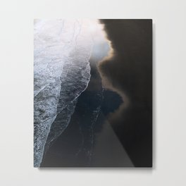 Waves on Black Sand Beach during Sunset in Iceland Metal Print