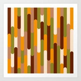 Retro 70s long capsules brown orange green Art Print