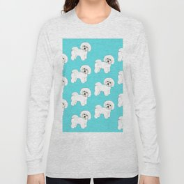 Bichon Frise on aqua / teal / cute dogs/ dog lovers gift Long Sleeve T-shirt
