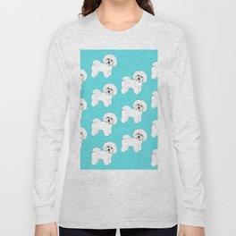 Bichon Frise on aqua / teal / cute dogs/ dog lovers gift Long Sleeve T-shirt