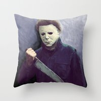 michael myers Throw Pillows featuring Michael  by naidl