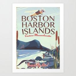 Boston Harbor Massachusetts Flight poster Art Print
