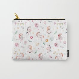 Hand painted blush pink green watercolor magic unicorn floral typography Carry-All Pouch