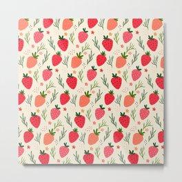Spring Strawberry Garden Metal Print