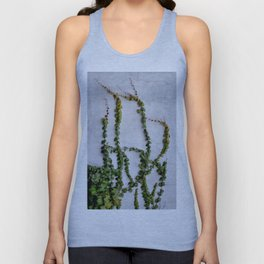 Upward Climbing (green vine on grey wall) Unisex Tank Top