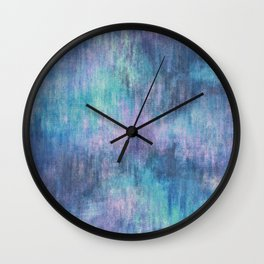 Baja Blue Watercolor Streaks Wall Clock