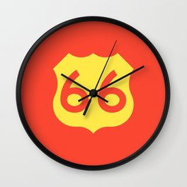 Route 66 • Travel and Road Trip Design • Red and Yellow Wall Clock