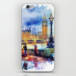 London Rain watercolor iPhone Skin