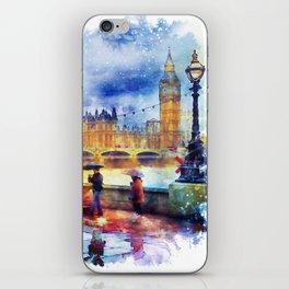 London Rain watercolor iPhone Skin
