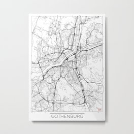 Gothenburg Map White Metal Print