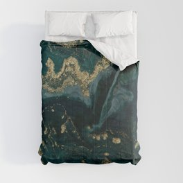 Abstract Pour Painting Liquid Marble Abstract Dark Green Painting Gold Accent Agate Stone Layers Comforters