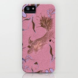 Pink fish pond iPhone Case