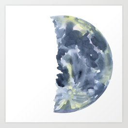 First Quarter Moon Watercolor Art Print