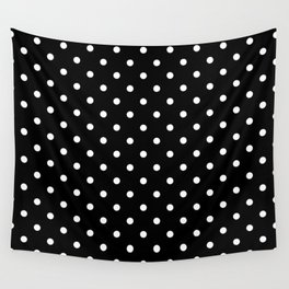 Licorice Black with White Polka Dots Wall Tapestry
