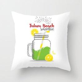 Tulum Beach: Summer, sun, sea & smoothies Throw Pillow