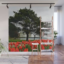Tulips and the Trees by the Lake Wall Mural