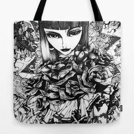 Gothic Girl Pencil Sketch Tote Bag