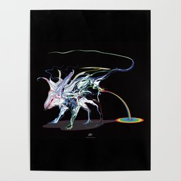 Rat and rainbow. multicolored on dark background - (Red eyes series) Poster