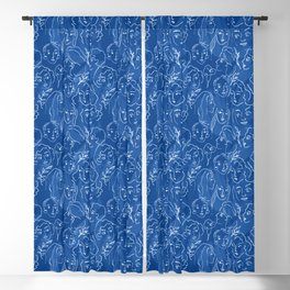 Pattern from women faces on blue background Blackout Curtain