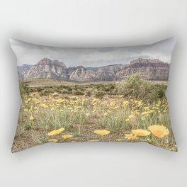 Wildflower Bloom | Vintage Red Rocks Las Vegas National Park Yellow Floral Landscape Rectangular Pillow