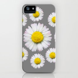 WHITE SHASTA DAISY FLOWERS  DECORATIVE GREY ART iPhone Case
