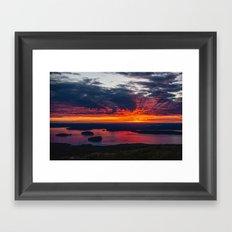 sunrise on cadillac mountain, acadia national park Framed Art Print