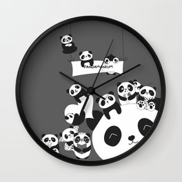 Panda party Wall Clock