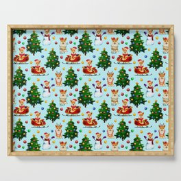 Blue Christmas - From Corgis, Santa And Christmas Trees Serving Tray