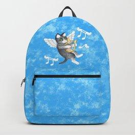 Grey Cherub Kitten Playing a Lyre Backpack