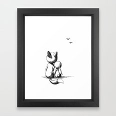 Fox and a rabbit Framed Art Print