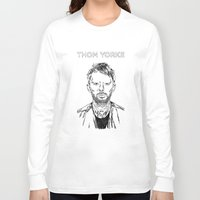 radiohead Long Sleeve T-shirts featuring Thom Yorke Radiohead by Mark McKenny