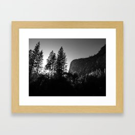 Sunlit Forest Trees and Cliffs in Yosemite Valley National Park (Black and White) Framed Art Print