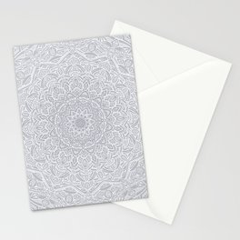 Most Detailed Mandala! Cool Gray White Color Intricate Detail Ethnic Mandalas Zentangle Maze Pattern Stationery Cards