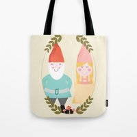 gnome Tote Bags featuring Gnome Sweet Gnome by Beth Laird