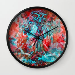 Bright owler aka Bird Dreams Wall Clock