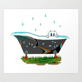 Raindrops are falling on Kitties Head in the Tub Art Print