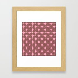 Mid Century Modern Star Pattern 143 Pink and Brown Framed Art Print